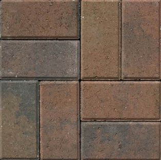 Gem Pavers Dark Orange Tan Charcoal Color