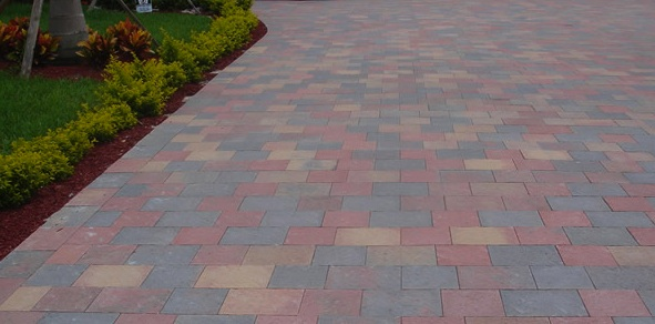 orange yellow huntington color paver driveway