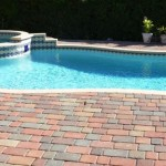 orange yellow huntington color paver pool deck