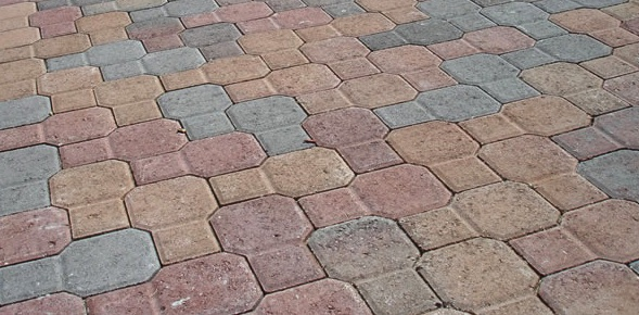 Red Paving Stones : Red tan charcoal color pavers