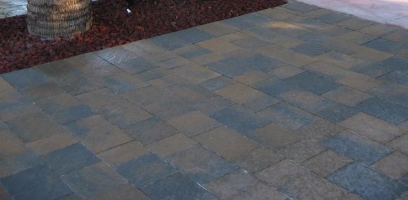 tan charcoal color patio pavers