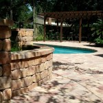 tremron olde towne autumn blend pool deck pavers and retaining wall