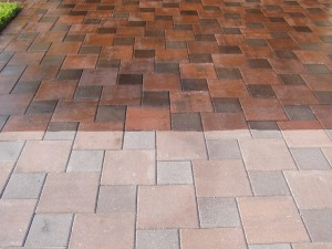 sealed vs. not sealed pavers